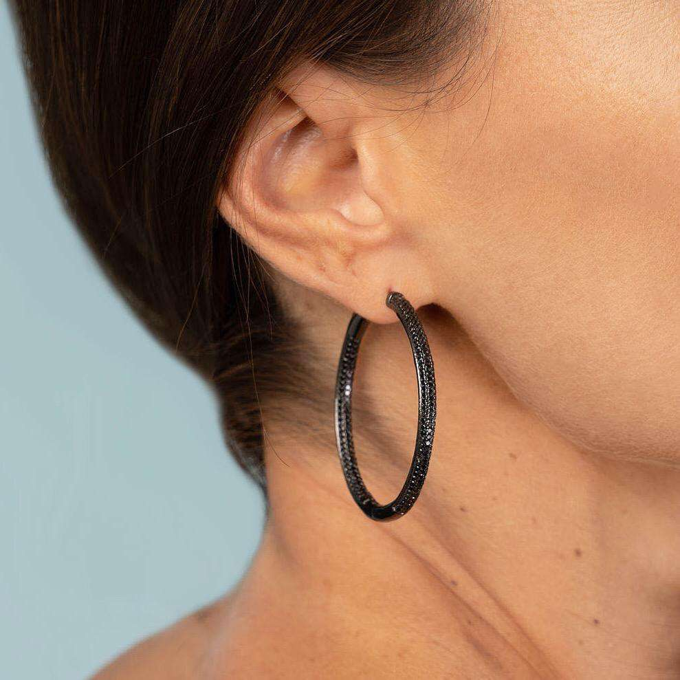 Frosted | Large Black Hoop Earrings