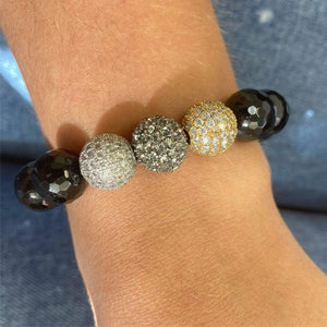 FINAL SALE- Onyx + Triple CZ Beaded Bracelet
