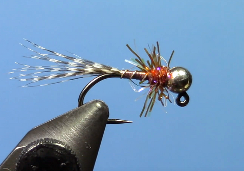 Teal brown jig euro fly fishing fly tying