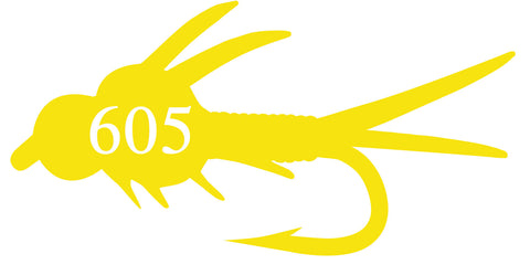 605 fly yellow sticker