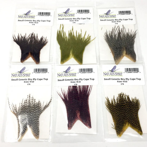 Nature's Spirit Genetic Dry Fly Hackle Small Cape Top,  Sizes 18-22 Six Pack