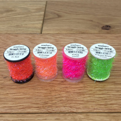 Semperfli Straggle String Micro Chenille fluorescent orange red green pink