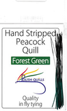 Polish Quills stripped peacock quills fly tying quill body forest green