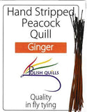 Polish Quills stripped peacock quills fly tying quill body ginger