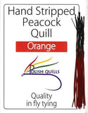 Polish Quills stripped peacock quills fly tying quill body orange