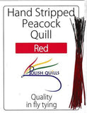 Polish Quills stripped peacock quills fly tying quill body red