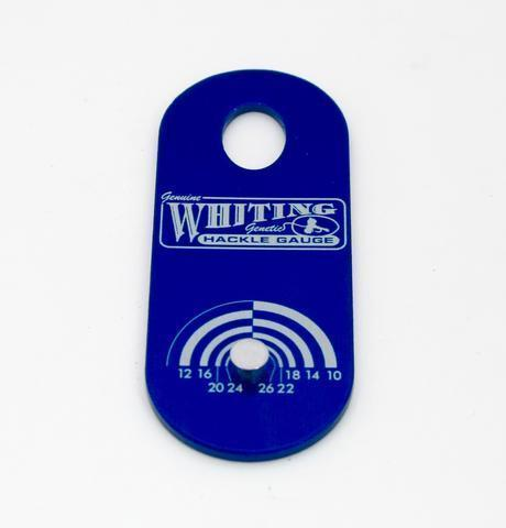Whiting Farms Hackle Gauge fly tying blue