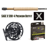 Sage X 590-4 Premium Outfit - 590-4 Hatch Reel Rio Gold