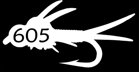 605 Fly Decal/Sticker White