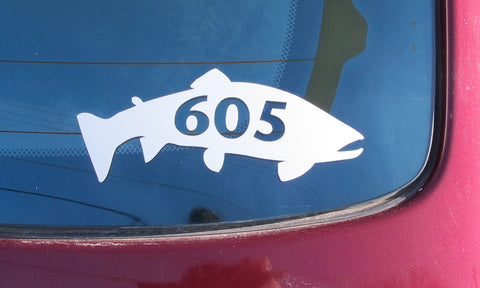 605 Trout Decal/Sticker White