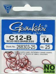 Gamakatsu C12-B Red Scud Hooks Barbless