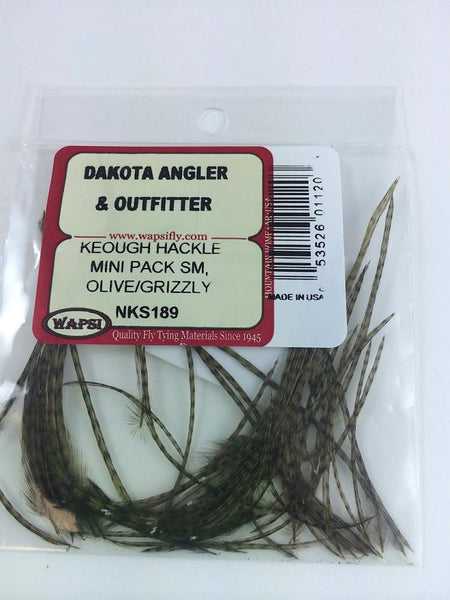 Grizzly Dry Fly Neck Hackle Mini Packs Angelsport-Fliegen-Bindematerialien 20 PACKS!