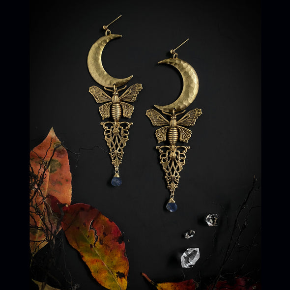 Moth and Moon Mystic Earrings