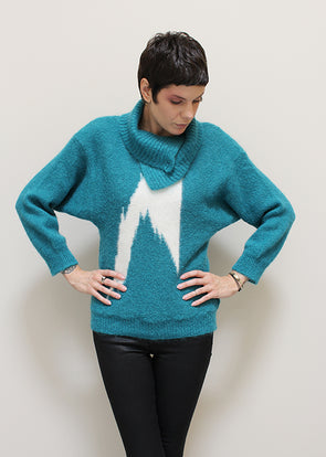 Teal Angora Bolt Sweater