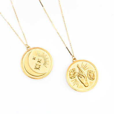 Double Sided Coin Moon and Floral Hand Necklace