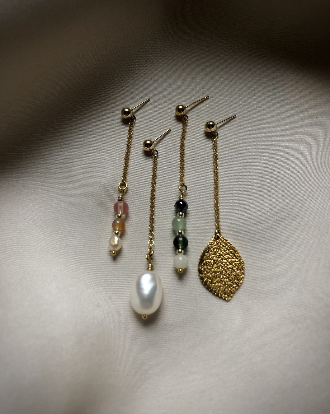 Long earring with mixed gemstones and freshwater pearls