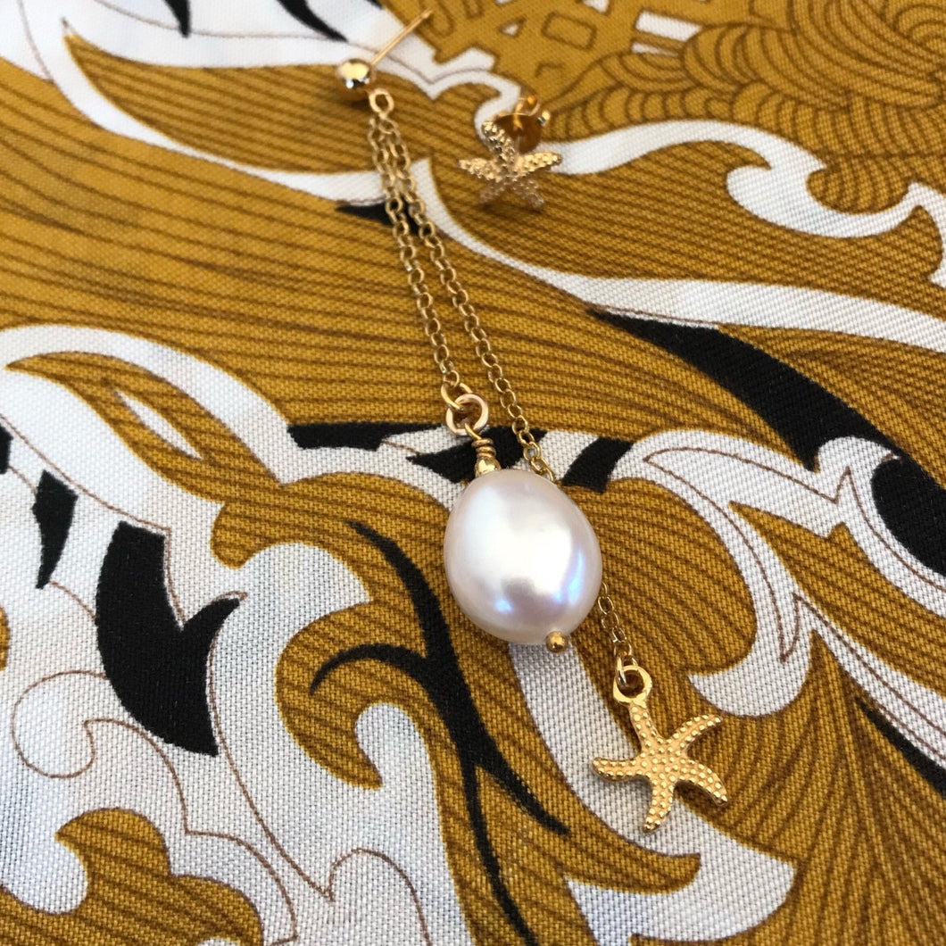 Baroque freshwater pearl and star long earring