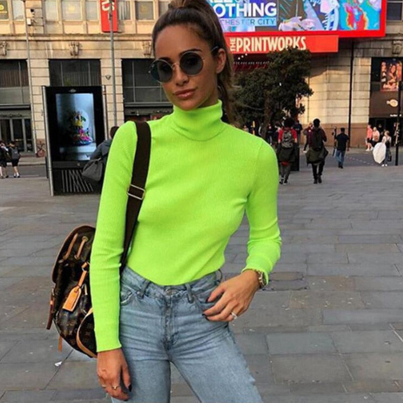 dbf272f5d8f4 Neon Color Knitwear T Shirts Turtleneck Long Sleeve Tops 2019 Green Spring  Women Basic Solid T