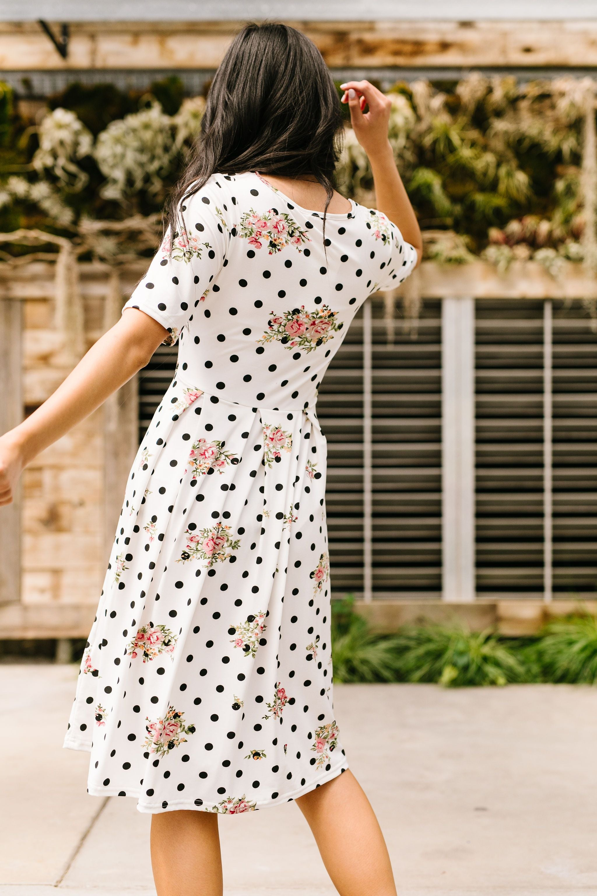 Dots & Roses Dress In Ivory