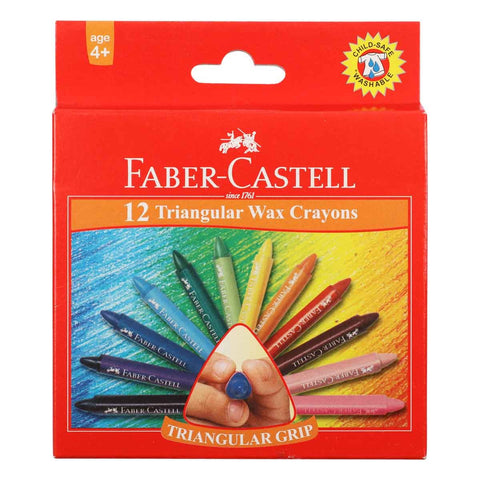 Faber Castell Triangular Grip Wax Crayons 12pk