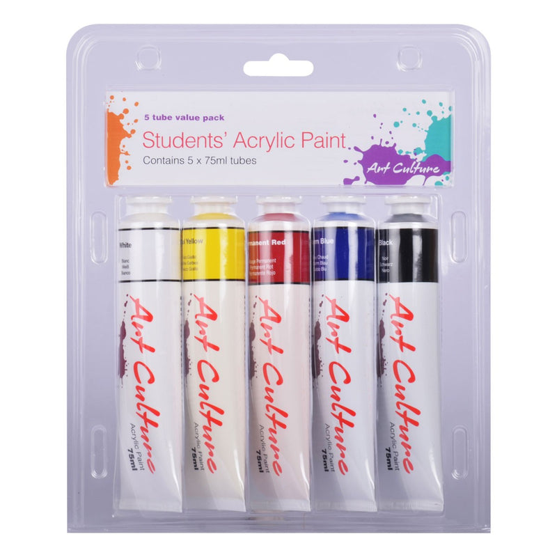 Art Culture Student Acrylic Paint Value Pack  Assorted Colours 5 x 75ml Tubes