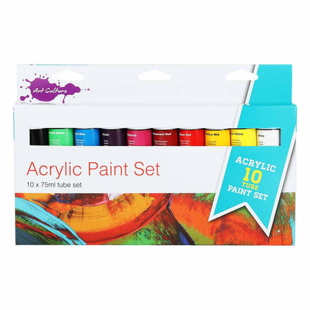 Chocolate Art Culture Acrylic Paint Assorted Colours 75ml 10 Tube Set Acrylic