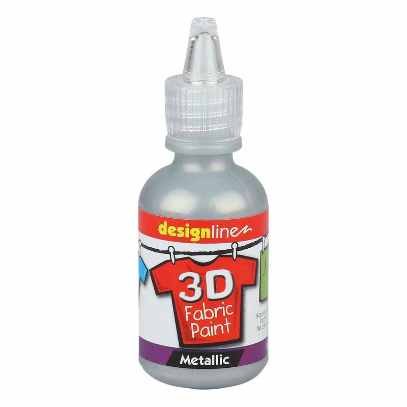 Orange Red Design Line 3D Fabric Paint Sterling Silver 29.5ml Fabric Paints and Dyes