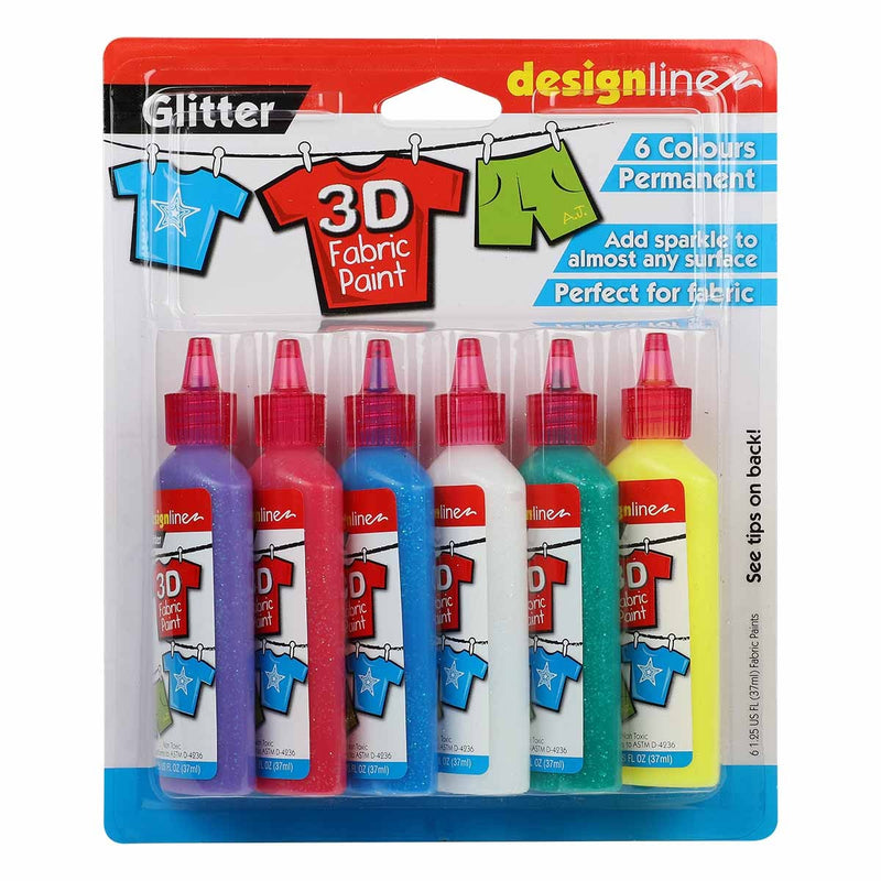 Brown Design Line 3D Fabric Paint Set Glitter 6 x 37ml Fabric Paints and Dyes