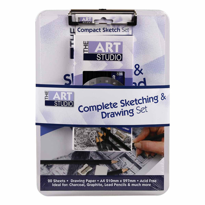 Light Gray The Art Studio Complete Sketching & Drawing Set Pencils