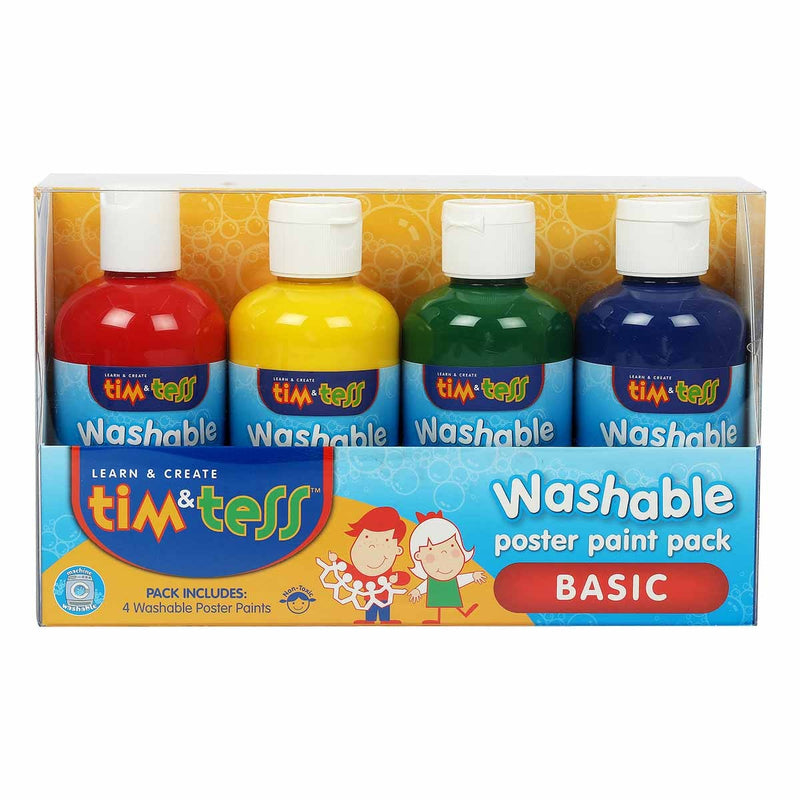 Gold Tim & Tess Childrens Washable Poster Paint Primary Colours 250ml 4 Pack Kids Painting