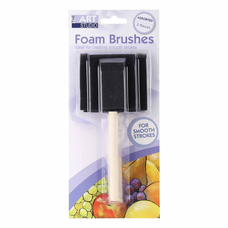 Gray The Art Studio Foam Brushes 25/50/75mm Pack 3 Pieces Brushes