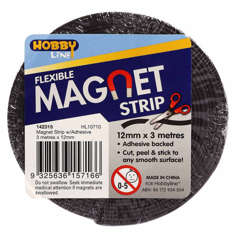 Hobby Line Magnet Strip w/Adhesive 3mx12mm