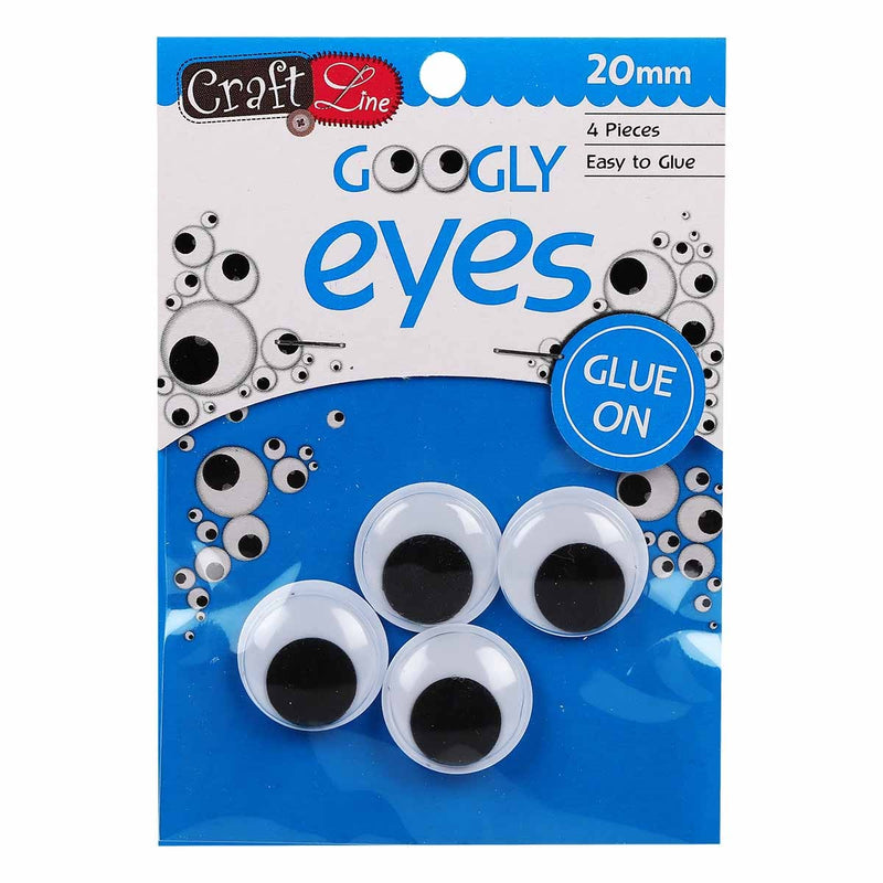 Craft Line Googly Eyes Paste On 20mm 4pc