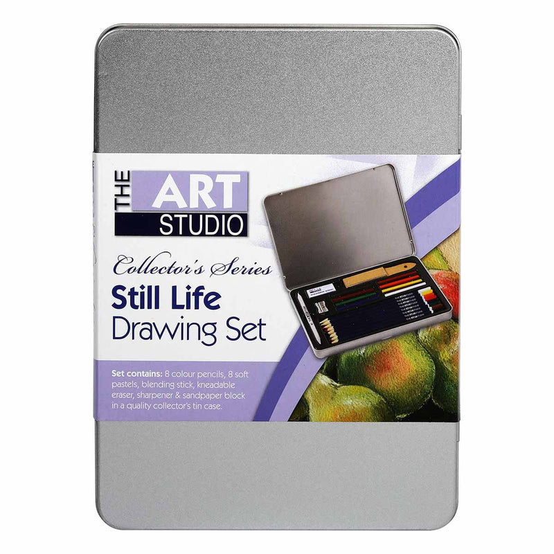 Dim Gray The Art Studio Still Life Colour Drawing Tin Set Pencils
