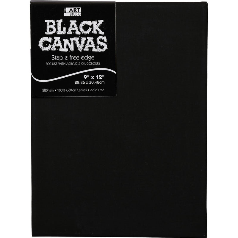 Box of 5 Art Studio Thin Bar Black Stretched Canvas 9 x 12 Inch - 16mm Thick Canvas Bar