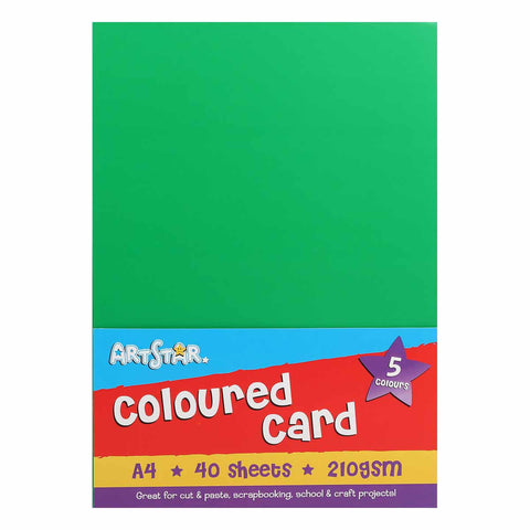 40 Sheets A4 Colour Card - 210gsm