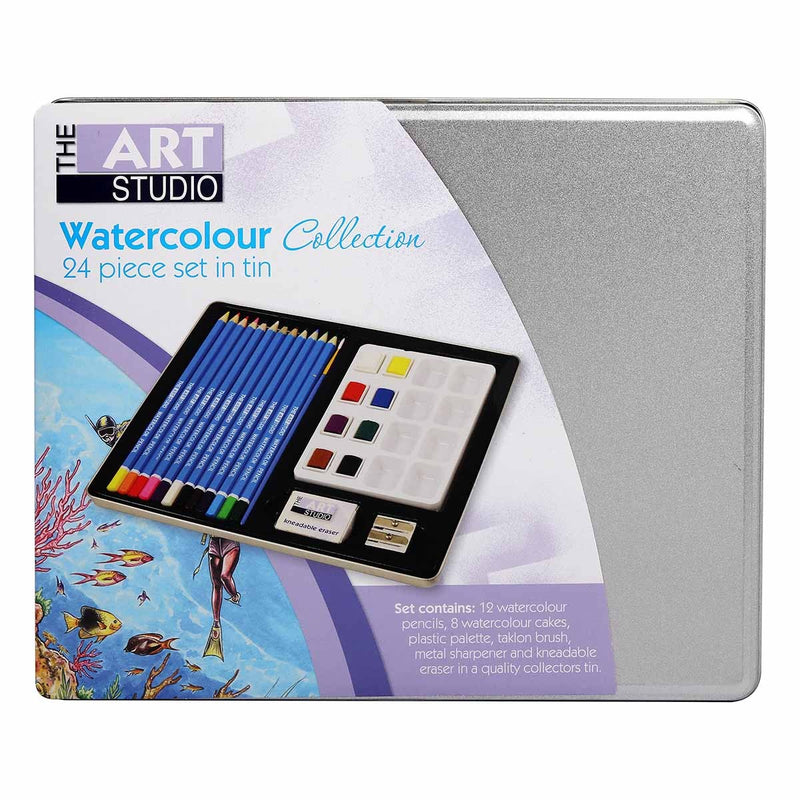 The Art Studio Water Colour Collection Tin Set 24 Pieces