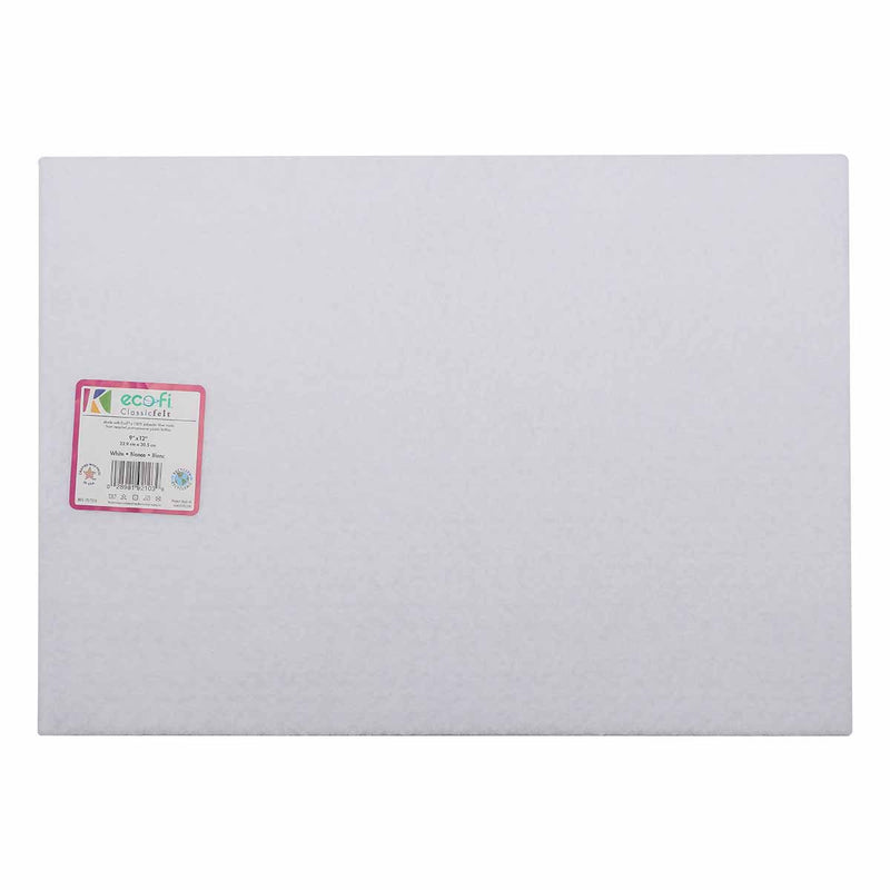 Light Gray Eco-Fi Felt 9 x 12 inches White White 22.9cm x 30.5 cm Felt