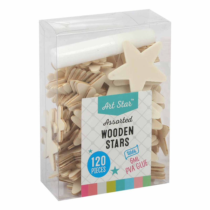 Art Star Assorted Size Wooden 120 Pack Stars