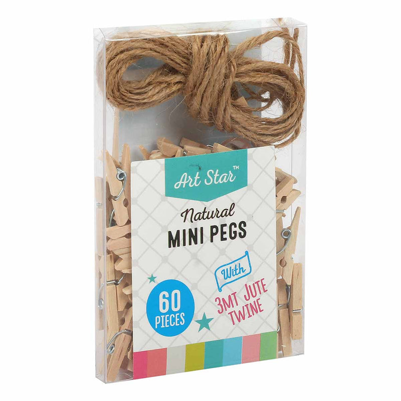 Art Star Mini Natural Pegs 60 Pack