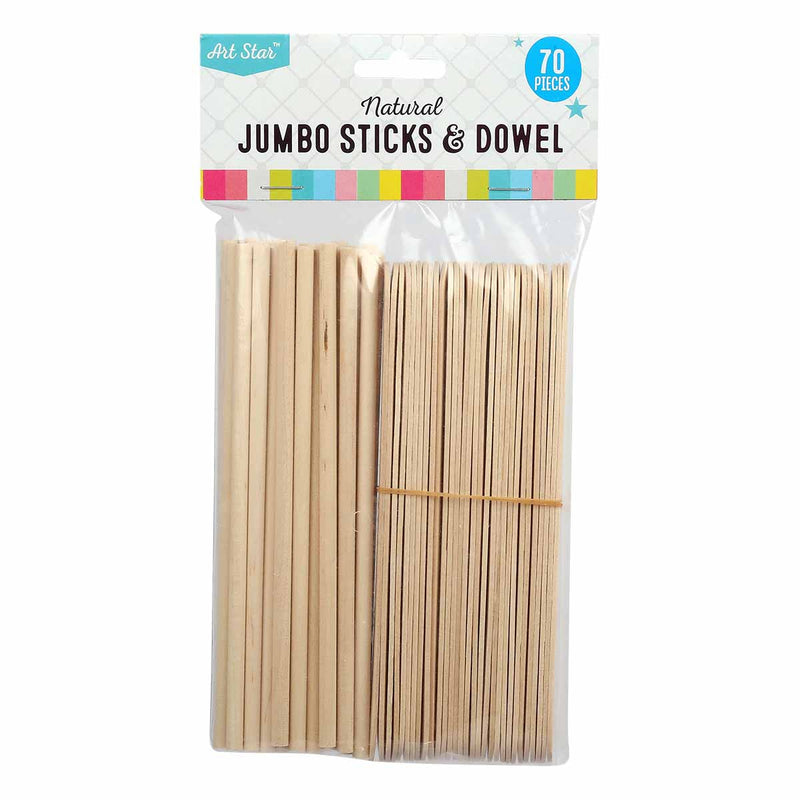 Tan Art Star Natural Jumbo Craft Sticks and Dowel 70 Pieces Kids Woodcraft