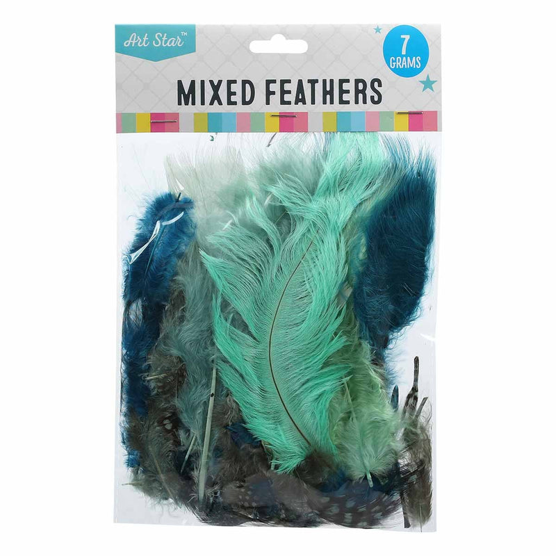 Cadet Blue Art Star Mixed Feathers Assorted Colours 7g Feathers