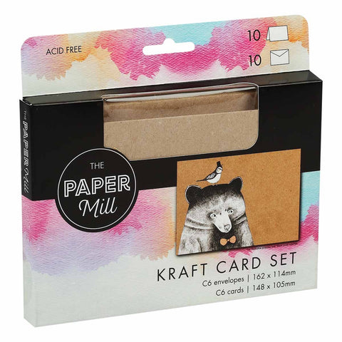 The Paper Mill C6 Kraft Cards with Envelopes 20 Pack