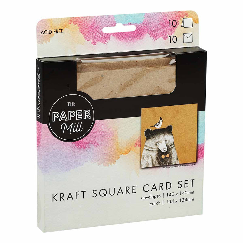 The Paper Mill Square Kraft Cards and Envelopes 20 Pack