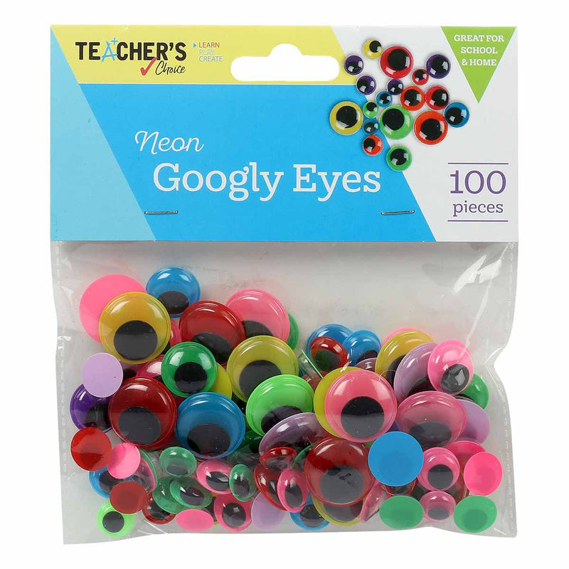 Teacher's Choice Neon Googly Eyes 100 Pieces Assorted Sizes & Colours