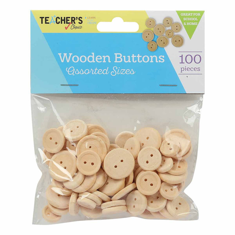 Teacher's Choice Wooden Natural Wooden Buttons Assorted Sizes 100 Pieces