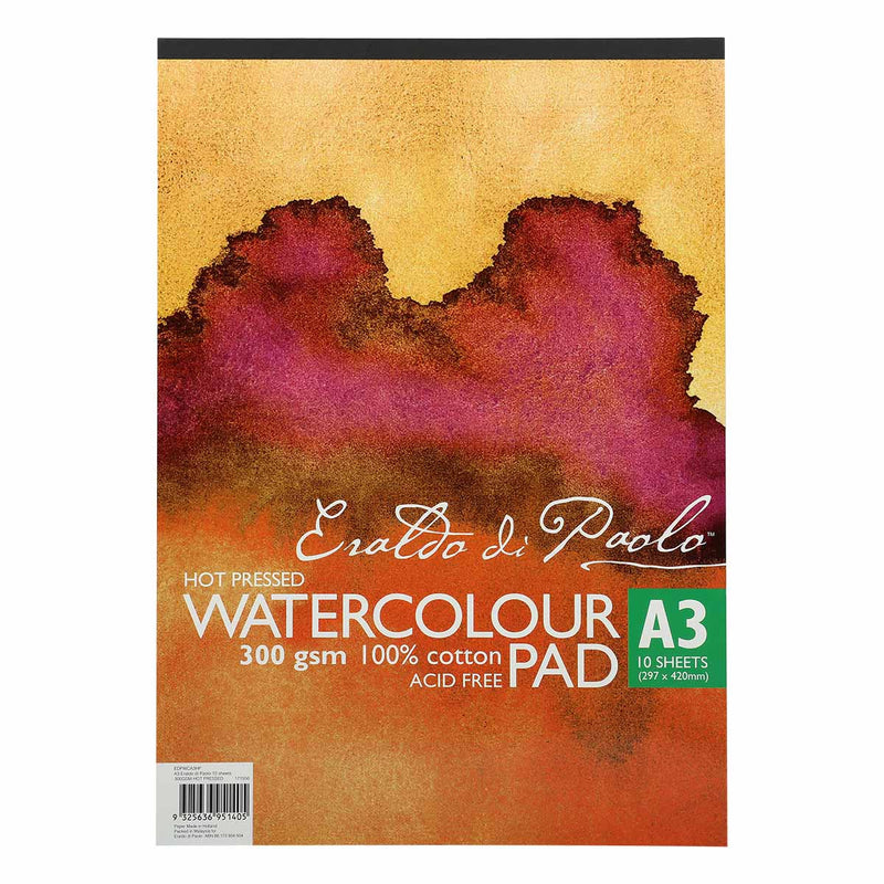 Eraldo Di Paolo A3 Watercolour Pad Hot Pressed 300gsm 10 Sheets