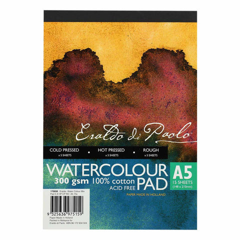 Eraldo Di Paolo Watercolour Mix Pad 5 x: Hot Press, Cold Press and Rough  A5 15 Sheets