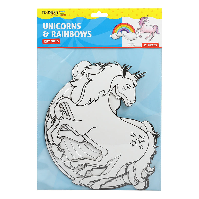 Teacher's Choice Unicorns and Rainbows Paper Shapes 12 Pieces