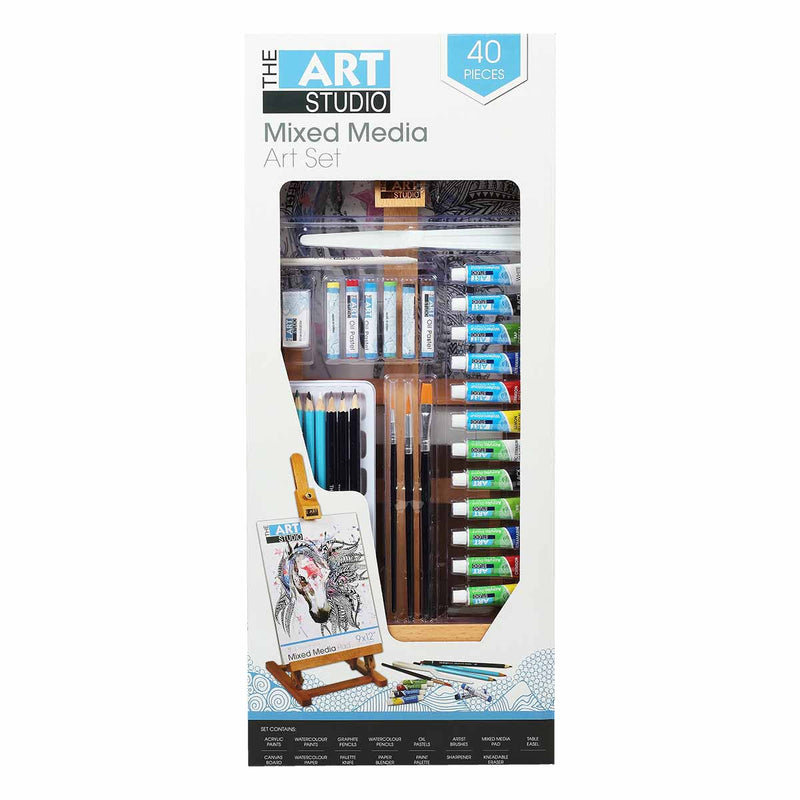 Dim Gray The Art Studio Mixed Media Art Set 40 Pieces Painting Art Sets